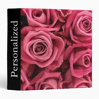 Personalized Red Roses Floral Vinyl Binders