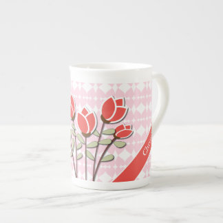 Personalized Red Roses on Pink Love Hearts Tea Cup