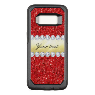 Personalized Red Sequins, Gold Foil, Diamonds OtterBox Commuter Samsung Galaxy S8 Case