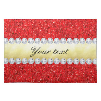 Personalized Red Sequins, Gold Foil, Diamonds Placemat
