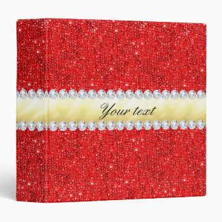 Personalized Red Sequins, Gold Foil, Diamonds Vinyl Binders