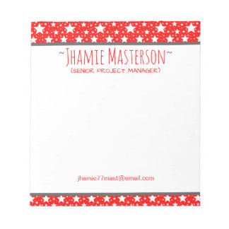Personalized Red Stars Notepad