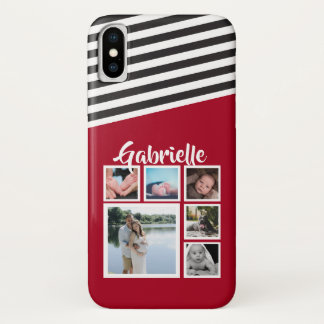 Personalized Red Stripe Pattern Black White iPhone X Case