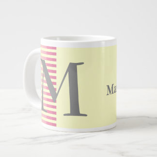 Personalized Red Stripes and Light Yellow Monogram Large Coffee Mug