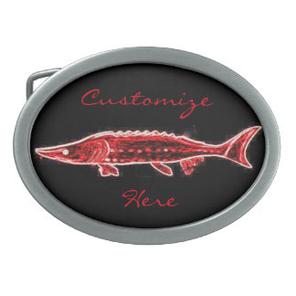 personalized red sturgeon black oval belt buckle
