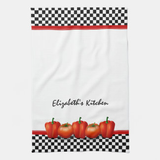 Personalized Red Tomatoes Pepper Italian Style Kitchen Towel