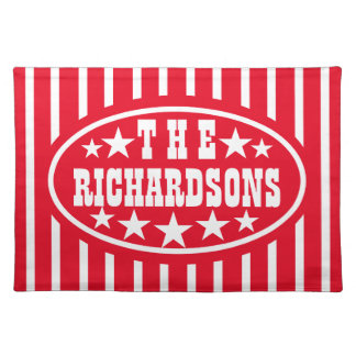 Personalized Red Vintage Carnival Place Mats