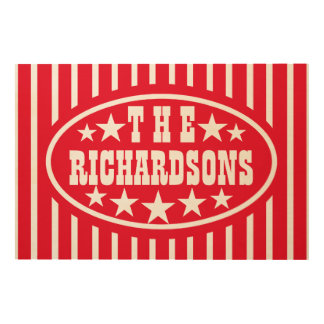 Personalized Red Vintage Carnival Wood Canvases