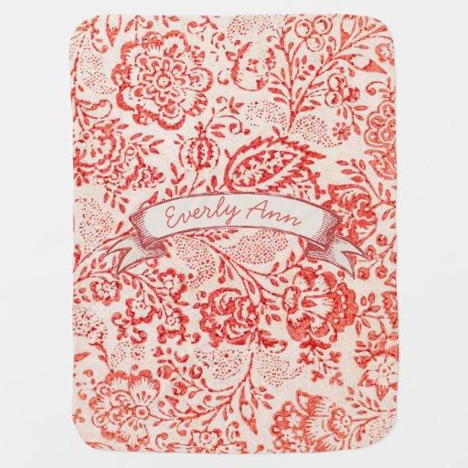 Personalized Red Vintage Floral Chalkboard Banner Swaddle Blanket