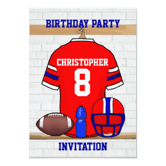 Personalized Red WB Football Jersey Birthday Party Card