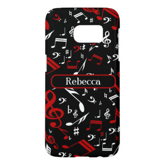 Personalized Red White and Black Musical Notes Samsung Galaxy S7 Case