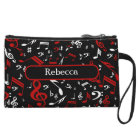 Personalized Red White and Black Musical Notes Wristlet