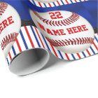 Personalized Red White and Blue Baseball Gift Wrap