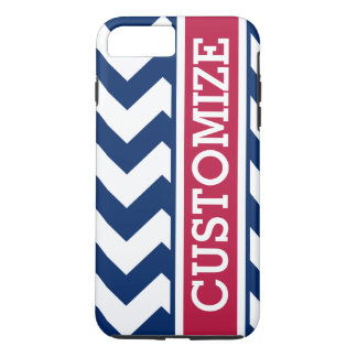 Personalized Red White and Blue Chevron iPhone 7 Plus Case