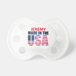 "Personalized Red, White and Blue ""Made in the USA"" Pacifier"