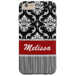 Personalized Red, White, Black Damask Striped Tough iPhone 6 Plus Case