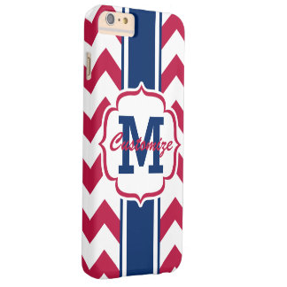 Personalized Red White Blue Chevron Stripe Barely There iPhone 6 Plus Case
