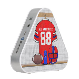 Personalized Red White Blue Football Jersey Blueooth Speaker