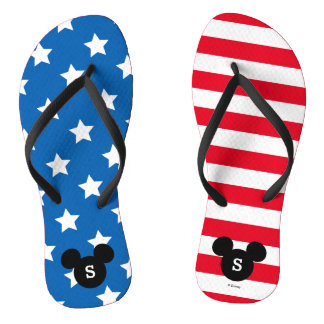 Personalized Red, White & Blue Mickey Flip Flops