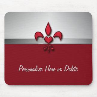 Personalized Red White Gray Fleur de Lis Heart Mouse Pad