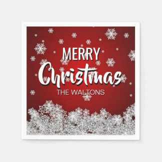 Personalized RED White MERRY CHRISTMAS Snowflakes Paper Napkins