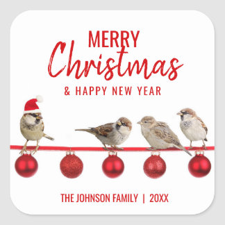 Personalized RED White MERRY CHRISTMAS Sparrows Square Sticker