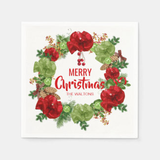 Personalized RED White Wreath Merry Christmas Disposable Napkin