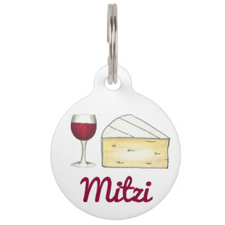 Personalized Red Wine Brie Cheese Food Pet Dog Tag