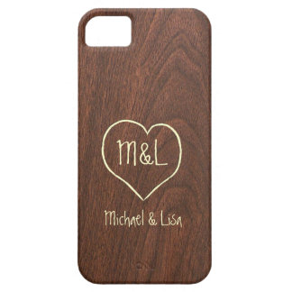 Personalized Red Wood Texture with Heart iPhone 5 Case
