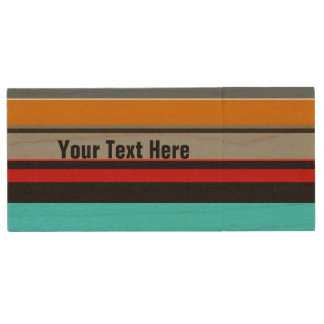 Personalized Red Yellow Blue Silver Stripes Wood USB Flash Drive