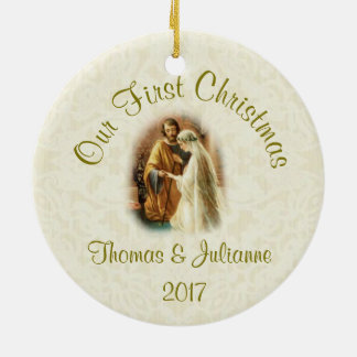 Personalized Religious Wedding Christmas Ceramic Ornament