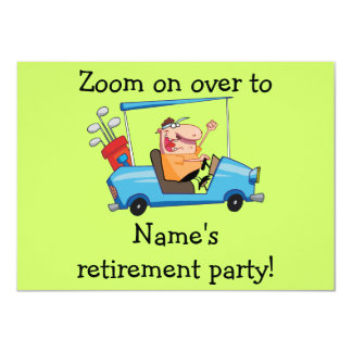 "Personalized Retirement Party Inviation, Golf Cart 4.5"" X 6.25"" Invitation Card"