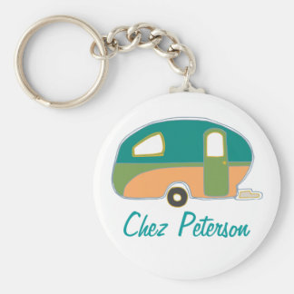 Personalized Retro Art Caravan Owner's Keychains
