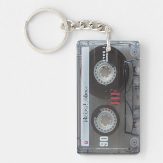 Personalized retro Cassette mix-tape Single-Sided Rectangular Acrylic Keychain