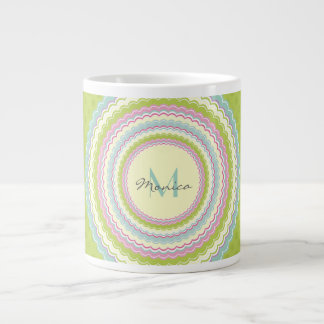 Personalized Retro Colorful Flower Power Monogram Large Coffee Mug