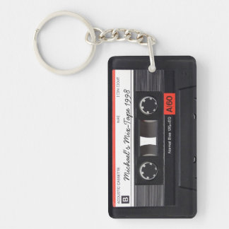 Personalized Retro Mix-tape key-chain Double-Sided Rectangular Acrylic Keychain