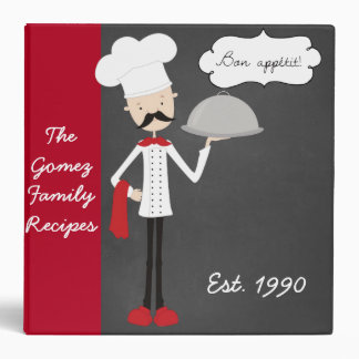 Personalized Retro Modern Chef Recipe Binder
