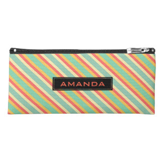 Personalized Retro Pink Yellow Green Blue Stripes Pencil Case