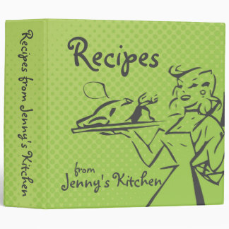 Personalized Retro Recipe Binder - Lime Green