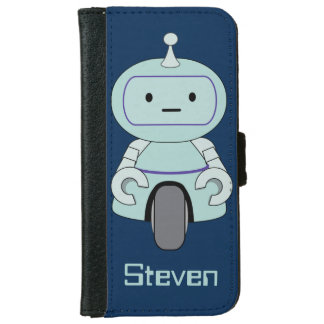 Personalized Retro Robot Illustration iPhone 6 Wallet Case