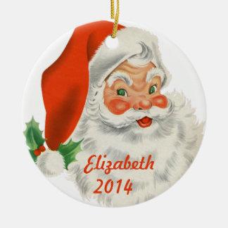 Personalized Retro Santa Claus Round Ceramic Ornament
