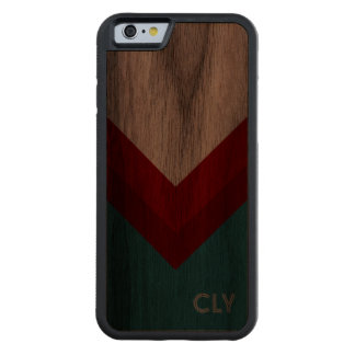Personalized Retro V Pattern In Red & Teal Carved Walnut iPhone 6 Bumper Case