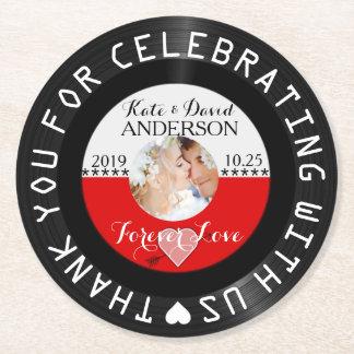 Personalized Retro Vinyl Record Wedding Favor Round Paper Coaster
