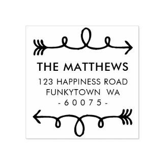 PERSONALIZED RETURN ADDRESS curly hand drawn arrow Rubber Stamp