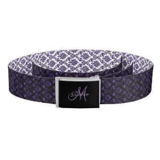 Personalized Reversible Purple Damask Print Belt