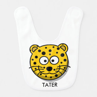 Personalized Reversible Smiling Cartoon Leopard Bib