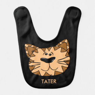 Personalized Reversible Smiling Cartoon Tiger Bib