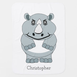 Personalized Rhino Design Baby Blanket