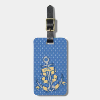 Personalized Ribbon Anchor Luggage Tag