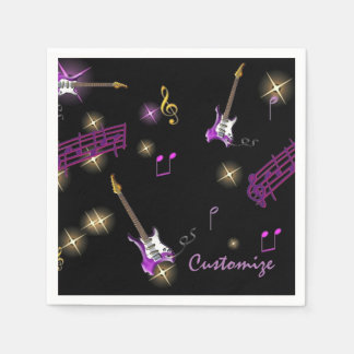 Personalized Rock Star Music Background Napkins Disposable Napkins